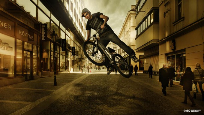 Boy jumping with a bicycle on the shopping street - ショッピング街の自転車でジャンプ少年 SKU: mo-0003