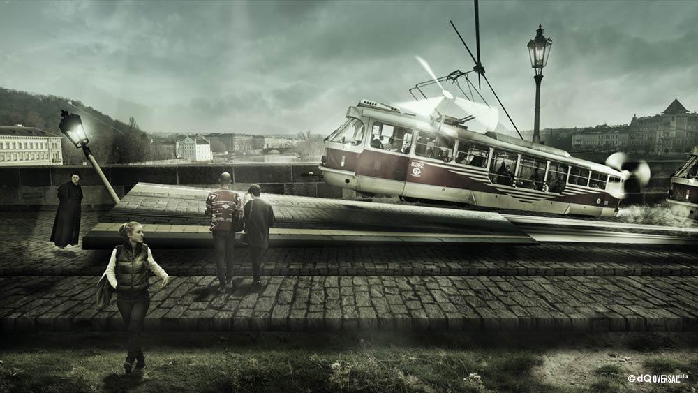 Flying tram on the bridge with pedestrians walking by - 歩行者が歩くと橋の上に路面電車フライング SKU: ar-0009