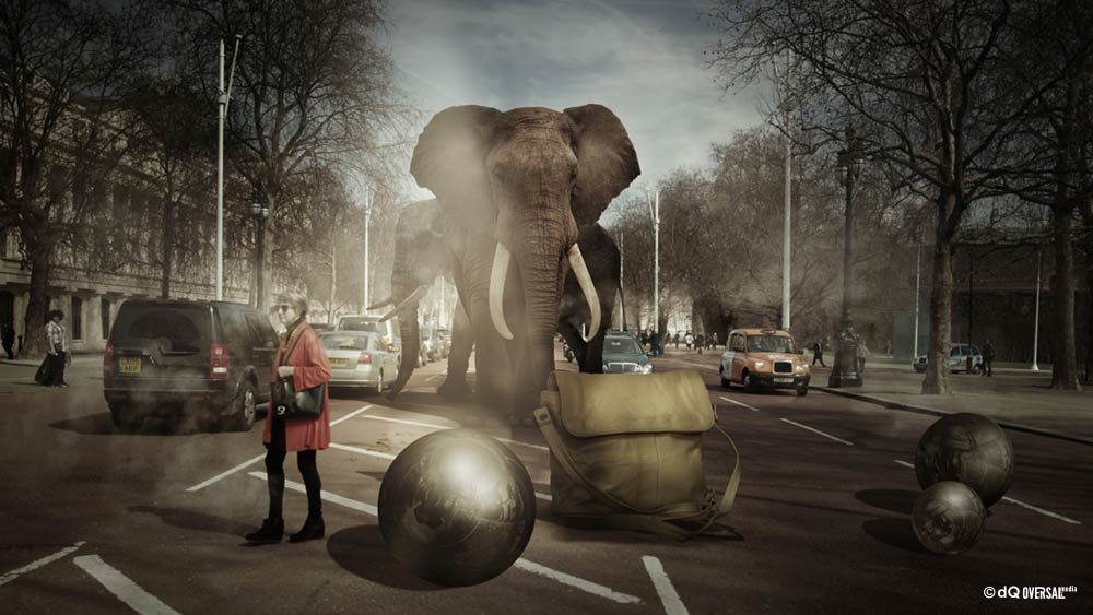 Woman in red and elephants crossing the road full of cars SKU: li-0009