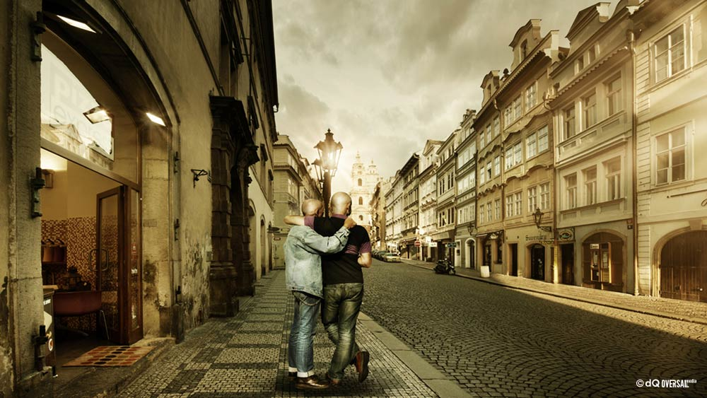 Portrait of a couple hugging on the street of an old town SKU: po-0003b