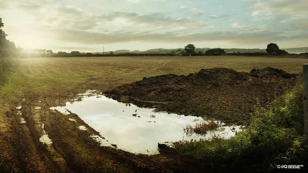 Muddy puddle in the filed - 提出された中で泥だらけの水たまり SKU: la-0073