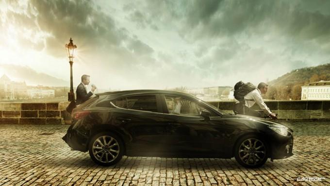 Black car driving through the stone bridge SKU: mo-0020