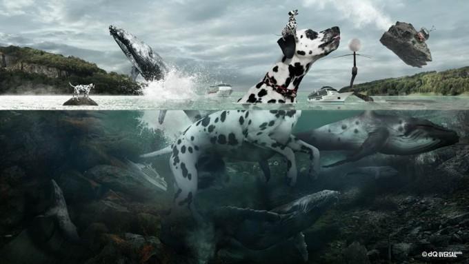 Dalmatian dog swimming with whales - 都市の上空を飛んイエロータクシー SKU: ar-0028
