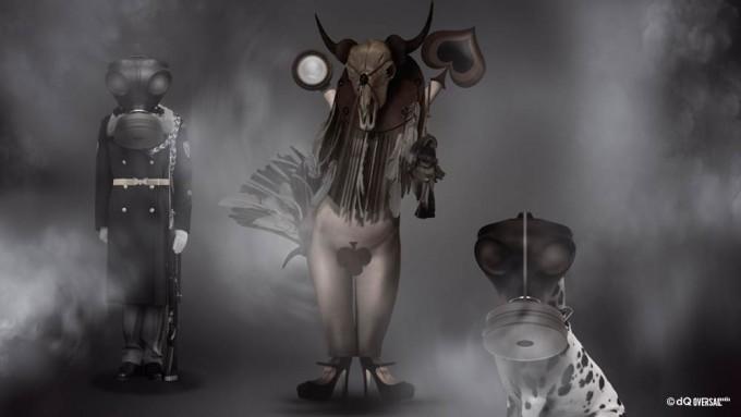 Model soldier and dog wearing magic masks - 魔法のマスクを身に着けているモデル兵士と犬 SKU: fa-0029